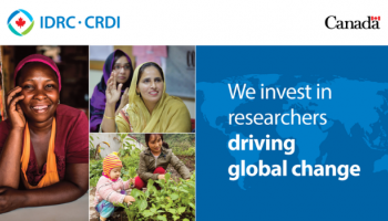 """Collage with text saying """"We invest in researchers driving global change"""""""
