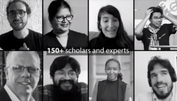 """Collage of 8 people with the text """"150+ scholars and experts"""""""