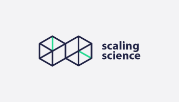 Two connected three dimensional wireframed boxes to the left of scaling science text