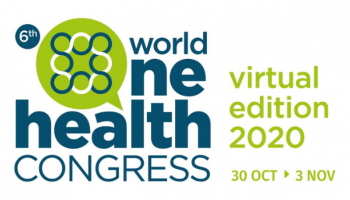 """6th World One Health congress name and logo and the words """"virtual edition 2020: 30 Oct-3 Nov"""""""